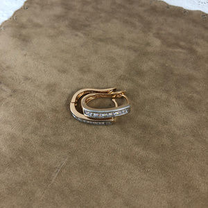Gem Empourium Jewelry - Gold Filled 2 Tone Pave Set Crystals Huggy Hoops